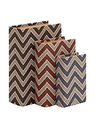 Set of 3 Chevron Wood Vinyl Book Boxes, Multi