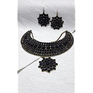 Black and Gold Heavy Necklace Set