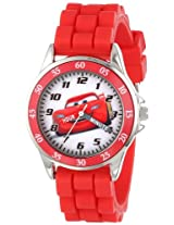"Disney Kids' CZ1009 ""Time Teacher"" Cars Lightning McQueen Round Watch with Red Rubber Strap"