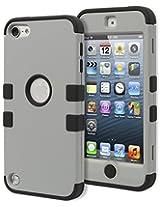 iPod Touch 5 Case, Bastex Heavy Duty Hybrid Soft Black Silicone Grey TUFF Design Case for Apple iPod Touch 5