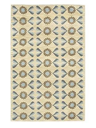 Handmade Athina Wool Rug, Cream/Light Blue, 5' x 8'