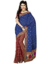 Aadarshini Women's Raw Silk Saree (110000000062, Blue & Maroon)