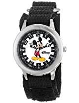 Disney Kids W000239 Mickey Mouse Stainless Steel Time Teacher Watch with Black Nylon Band