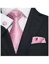 Landisun Paisley Silk Tie Set: Tie+Hanky+Cufflinks 62C Slight Light Pink, 3.75