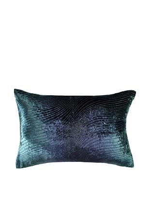 Kevin O'Brien Studio Hand-Painted Devore Velvet Slinky Pillow (Dark Peacock)