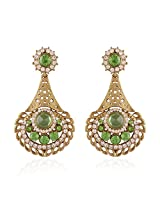 I Jewels Traditional Gold Plated Chand Shaped Stone Earrings for Women E2248P (Parrot/Light Green)