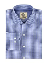 Blue Gingham Full Sleeve Regular Fit 100% Cotton Shirt (BG11FS38_Blue_S)