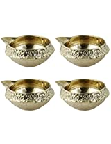 Set of 4 Handmade Indian Brass Oil Puja Lamp - Diya Lamp Engraved Design Dia - 3.5 Inch