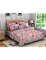 Bombay Dyeing Ambrosia Cotton Double Bedsheet with 2 Pillow Covers - Pink