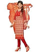 Pink Women Georgette Patch Work Partywear Unstitched Salwar Kameez Dress material