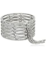 Chamak by priya kakkar Silver Metal Crystal Cuff with Lattice Cutouts and Crystal Chain Fringe Bangle Bracelet, 2.5""