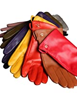 WARMEN Women's Genuine Nappa Leather Winter Warm Simple Plain Style Lined Gloves (S, Yellow)
