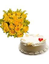 15 Yellow Roses with Pineapple Cake