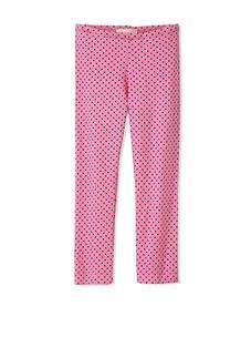 Lunchbox Girl's Dot Crop Leggings (Hot Pink)