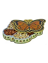 eCraftIndia Metal Butterfly Design Dry Fruit Box with 5 Partitions (LxWxH - 11.5INx9INx1.5IN)