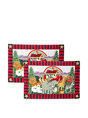C & F Enterprises Set of 2 Noah's Ark Hooked Rugs