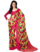 Yellow Faux Georgette Printed Saree from G3 Fashions