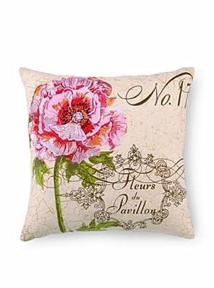 """Kathryn White Fleurs Pavillion Pillow, Pink/Green, 16"""" x 16"""""""