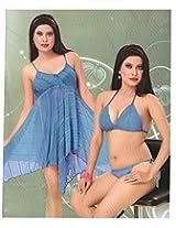 Indiatrendzs Women's Sexy Hot Nighty Blue 3pc Set Honeymoon Eveningwear Freesize
