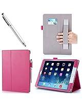 iPad Air 2 Case - i-Blason Apple iPad Air 2 Case [2nd Generation] Auto Wake/ Sleep Smart Case Leather Case (Elastic Hand Strap, Multi-Angle, Card Holder) With Bonus Stylus (Multi-Color to Choose From) 3 Year Warranty (Black) (iPad Air 2, Magenta)