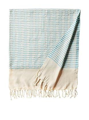 Nomadic Thread Turkish Towel Chic, Natural/Turquoise
