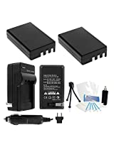 2-Pack Nikon EN-EL9a High-Capacity Replacement Batteries with Rapid Travel Charger for Nikon D5000, D3000, D60, D40x & D40 Digital Cameras - UltraPro BONUS INCLUDED: Camera Cleaning Kit, Camera Screen Protector, Mini Travel Tripod