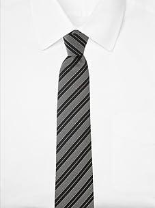 Aquascutum Men's Ribbed Stripe Silk Tie (Black/White)
