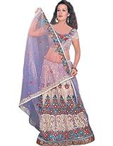 Exotic India Lavender Bridal Lehenga Choli with Floral Ari Embroidery - Lavender
