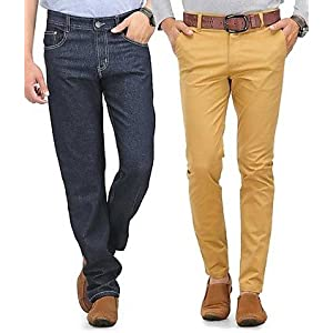 Phoenix Combo Of Men Grey Jeans And Beige Chinos PHNX4000041