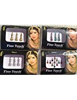Lightahead Good Quality 4 Pack Gold ,Silver, Multi Color Assorted Size Bollywood Head Bindi Tattoo Indian Art Rhinestone Stickon Reuseable
