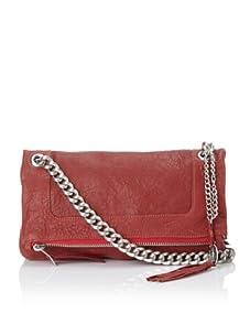 Olivia Harris Women's Zip Fold-Over Shoulder Bag, Orange Red