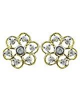 Zaveri Pearls Cubic Zirconia Floral Pattern Earring-ZPFK4544