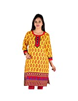 Parinita Yellow Color Cotton Kurti For Girls_M