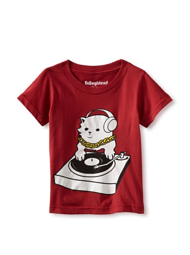 Ex-Boyfriend Boy's DJ Kitty T-Shirt (Indolence Red)
