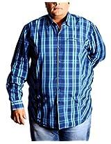 Xmex Men's Button Down Shirt (KR172NAVY_P, Blue, XX-Large)