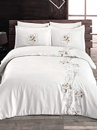 Welcome Home Completo Copripiumino Cotton Satin Rose (Bianco/Beige)