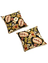 Blazing Needles Indoor/Outdoor Spun Poly 20-Inch by 20-Inch by 6-Inch Throw Pillow, Marlow Spice, Set of 2