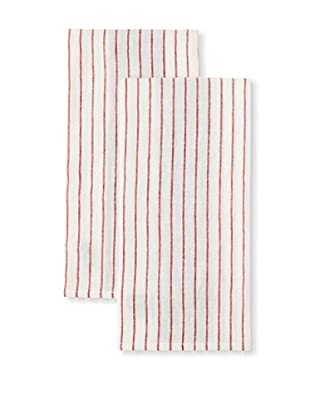 Found Object Le Havre Set of 2 Linen/Cotton Kitchen Towels, Red/White