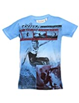 Tonyboy Boy's Cotton Spray Print Blue Short Sleeved T-shirt