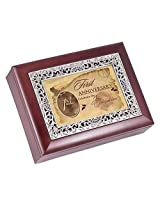 First Anniversary Rosewood Finish with Silver Inlay Jewelry Music Box - Plays Tune Wonderful World