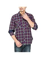 Slub Mens Casual Shirt(SLSH000891B-XXL_Blue_XXL)