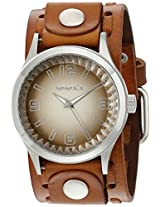 Nemesis Men's 217LBTK-B Brown Gradient Pointium Series Brown Wide Weaving Leather Cuff Band Analog Display Japanese Quartz Brown Watch