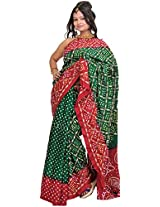 Exotic India Bandhani Tie-Dye Saree from Jodhpur with Embroidery in Golden Threa - Color Green And MaroonColor Free Size