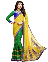 KVS FAB Yellow Green Georgette Pallu Georgette Jacquard Skirt Saree
