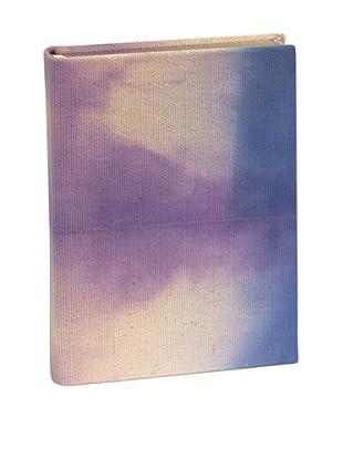 Aviva Stanoff Gilt-Edged Grid Canvas Keepsake Wide-Ruled Journal, Indigo