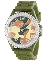 "Golden Classic Women's 2220_camodial ""Glam Jelly"" Oversized Rhinestone Camouflage Dial Silicone Watch"