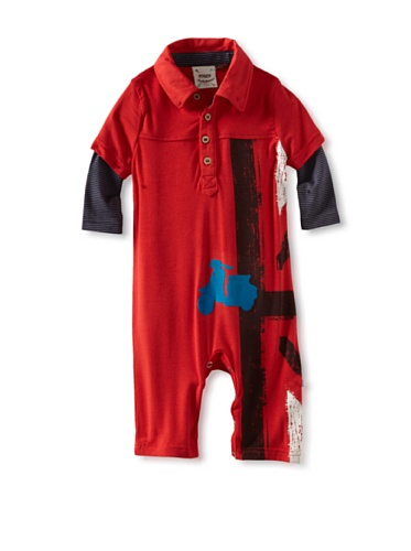 Fore!! Axel and Hudson Boy's Long Sleeve British Flag Scooter Knit Polo Romper (Paprika)