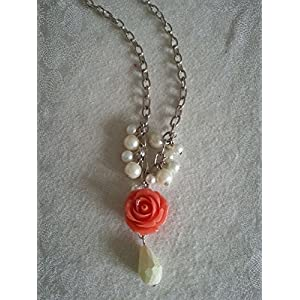 Knickknack Pearls with Coral Rose long chain