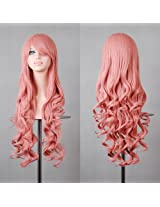 """HILISS 32"""" 80cm Long Hair Heat Resistant Spiral Curly Cosplay Costume Wig Dark Pink AD"""