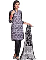Ethnicvibe Women Cotton Dress Material (Bb213 _Grey Black)
